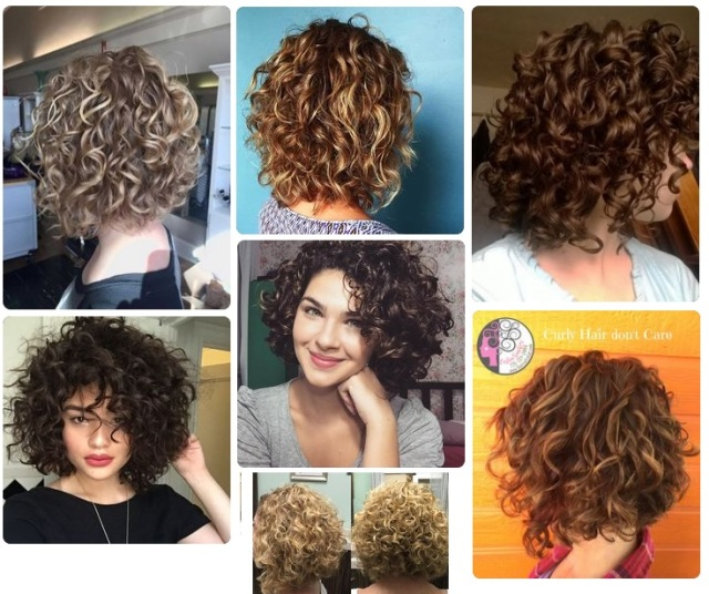 Short Curly Hair styles Collage