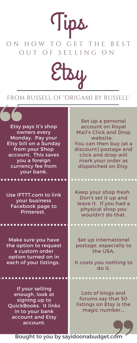 TIPS ON HOW TO GET BEST OUT OF SELLING ON ETSY FROM RUSSELL OF 'ORIGAMI BY RUSSELL'