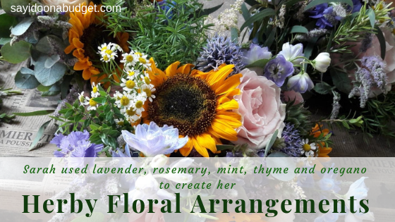 Sarah used lavender, rosemary, thyme and oregano in her herby floral arrangements